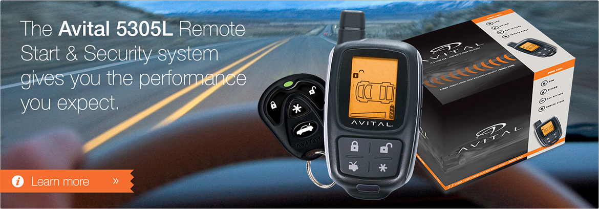 The Avital 5305L Remote Start and Security system gives you the performance you expect.